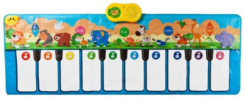 Jumbo Sized Animal Carnival Musical Playmat, 3 modes to play, 10 cheerful children's songs, 10 Flashing LED lights, and 10 large Piano Touch Sensitive Keys, Tons of Fun, Great for Kids and Toddlers