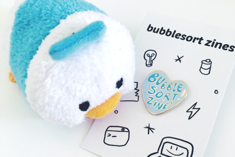 bubblesort zines lapel pin!