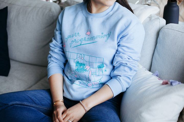 purr programming crewneck sweatshirt (pre-order, ships end of may!)