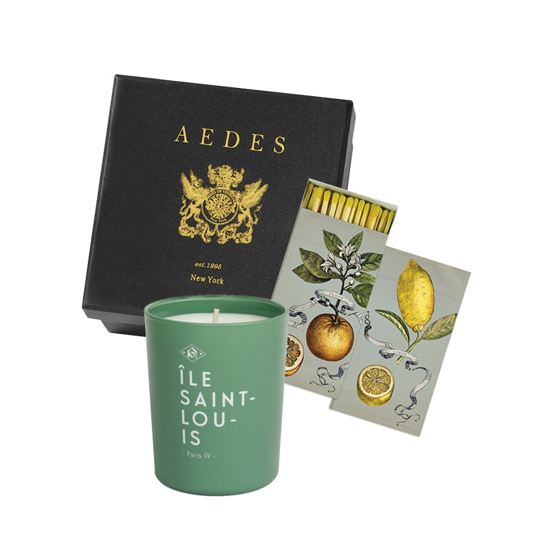 Holiday Gift Box - Ile Saint Louis Candle with Citrus Botanical Matches