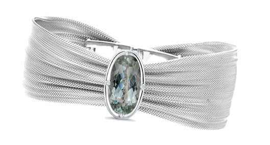 Fine Mesh Bracelet W/Mint Quartz Ellipse Facette
