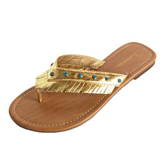 http://www.luxurydivas.com/collections/flip-flops/products/metallic-thong-flat-sandal-with-boho-fringe-apf00066%20