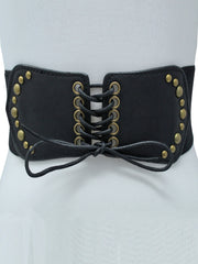 Corset Style Black Stretch Waist Belt With Gold Rivets
