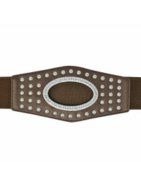Wide Silver Stud Waist Belt With Rhinestone Oval