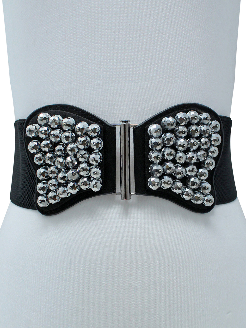 Black Elastic Waist Belt With Silver Beaded Butterfly