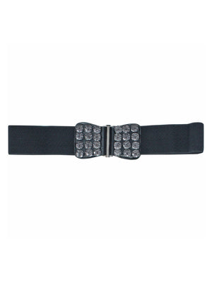 Black Elastic Cinch Waist Belt With Smoky Black Gems