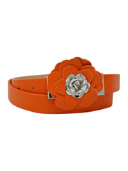 Orange Thin Belt With Rosette Petal Buckle