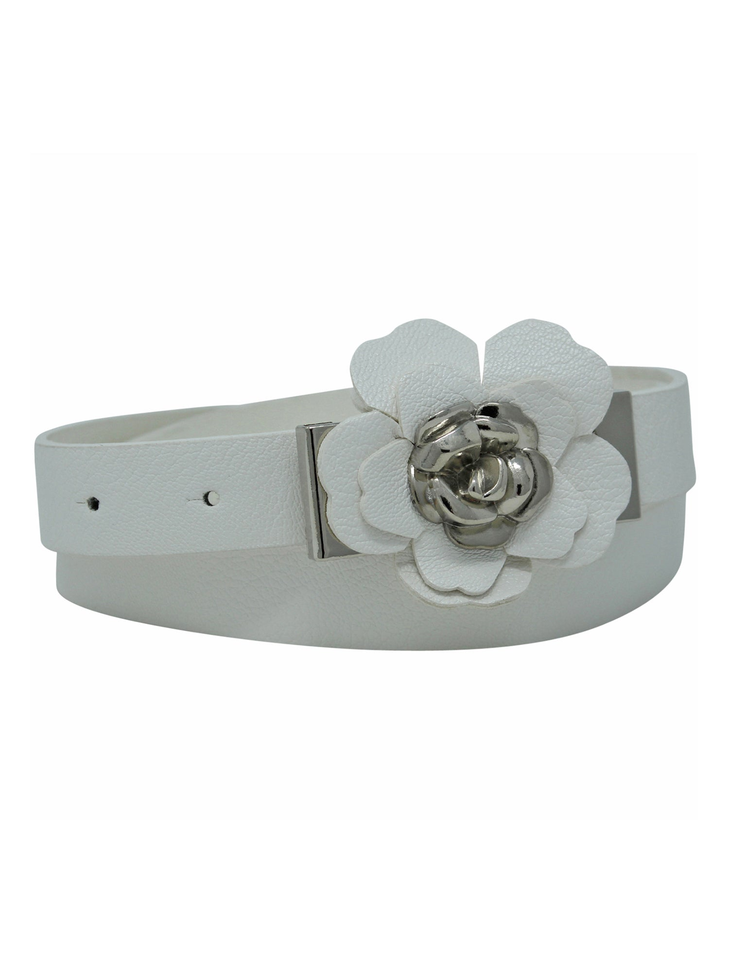 Skinny Belt With Rosette Petal Buckle