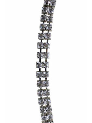 Silver Double Row Crystal Rhinestone Chain Belt