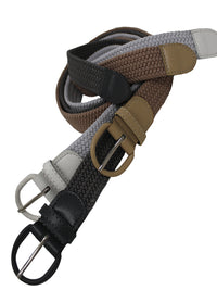 Tan White Gray 3 Pack Braided Elastic Belts