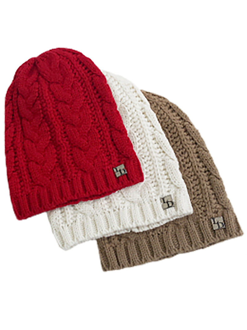 3 Pack Red Ivory Taupe Cable Knit Unisex Slouch Beanie Hats