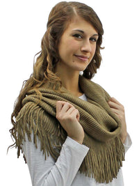 Ribbed Knit Infinity Scarf With Long Fringe