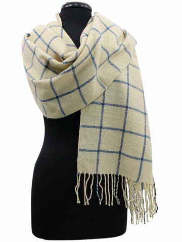 Checkered Cashmere Feel Unisex Winter Scarf