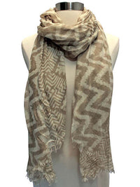 Tribal Chevron Print Crinkled Scarf Shawl