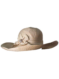 "Beige Shapeable 5"" Brim Floppy Hat With Bow"
