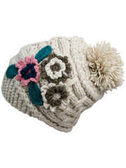Thick Knit Floral Slouchy Beanie Hat With Brim & Pom Pom