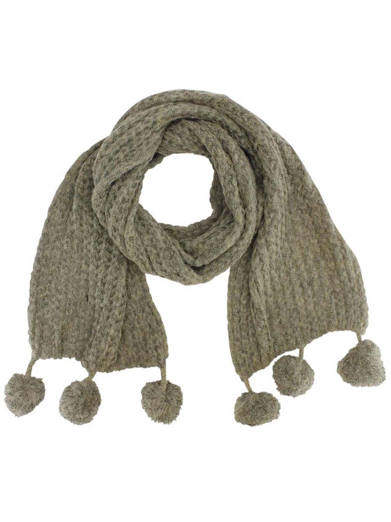 Long Knit Winter Scarf With Pom-Poms