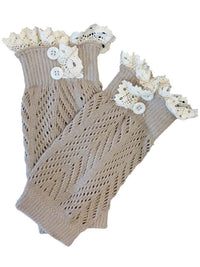 Knit Boot Liner Leg Warmers With Lace Trim
