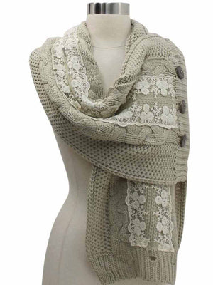 Cable Knit Scarf Neck Wrap With Lace & Button Trim