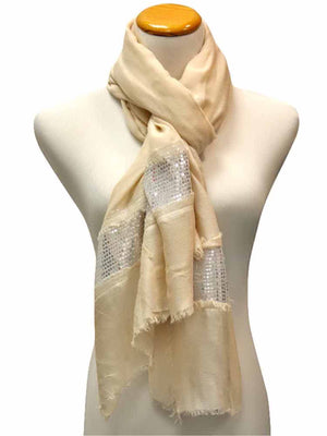 Light Summer Scarf Shawl With Silver Trim