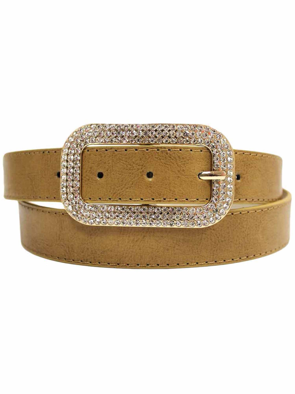 Classic Belt With Rectangular Rhinestone Buckle