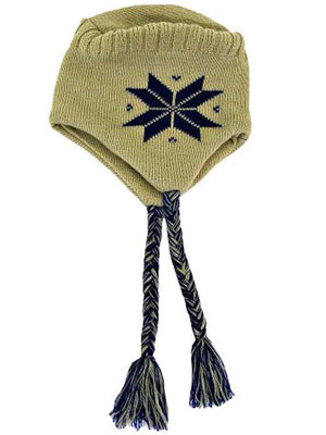 Snowflake Tibetan Knit Hat With Tassels