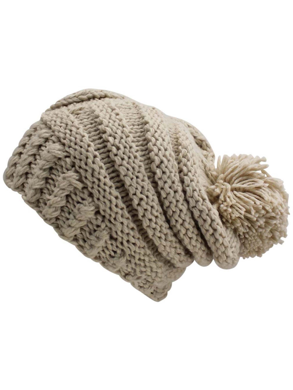 Extra Thick Heavy Winter Slouchy Knit Hat With Pom Pom