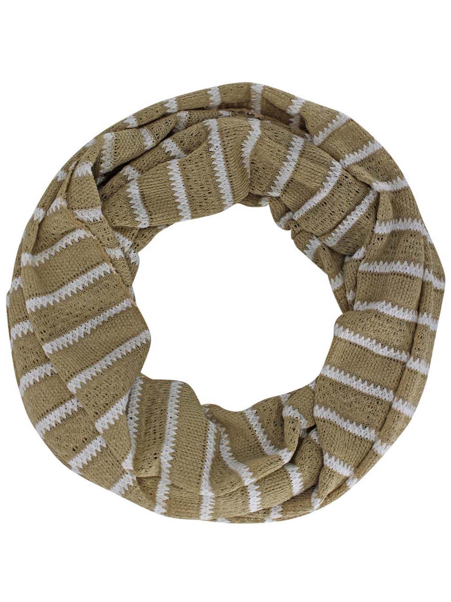 Striped Cotton Knit Lightweight Circle Infinity Scarf