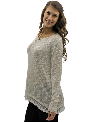 Beige & Ivory Lace Trim Knit Sweater