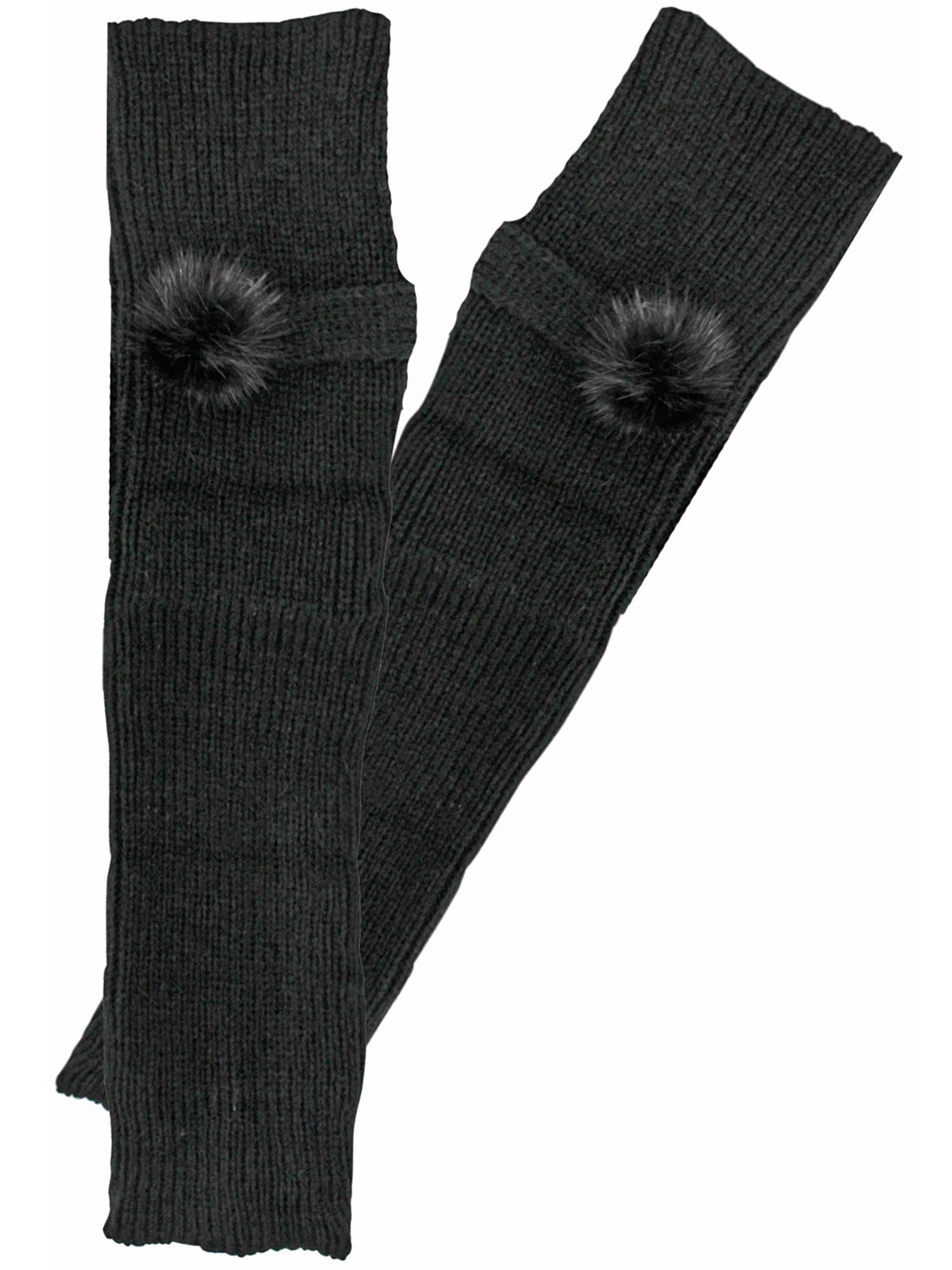 Knit Arm Warmers With Faux Fur Button
