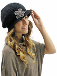 Angora Knit Newsboy Hat With Beaded Flower