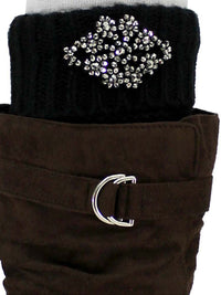 Black Knit Silver Beaded Boot Cuff Leg Warmers