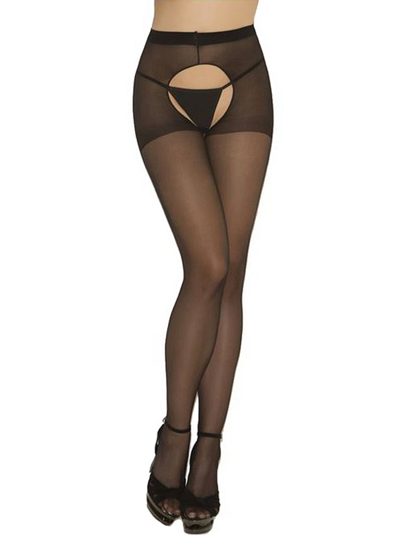 Black Sheer Crotch Less Hosiery Tights