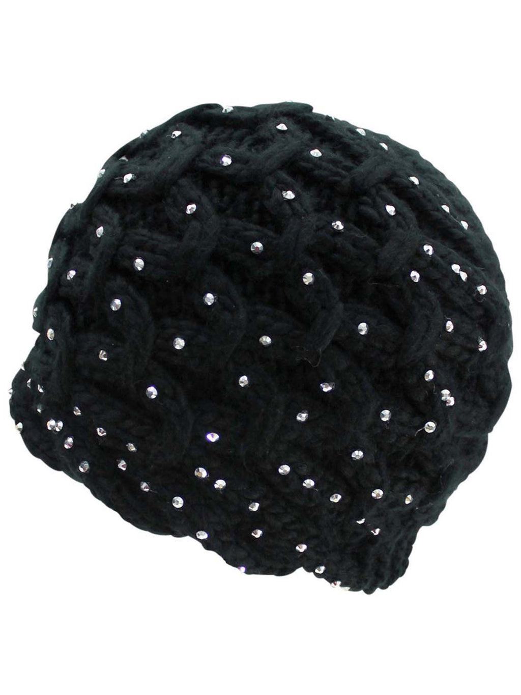 Thick Knit Winter Silver Rhinestone Beanie Hat