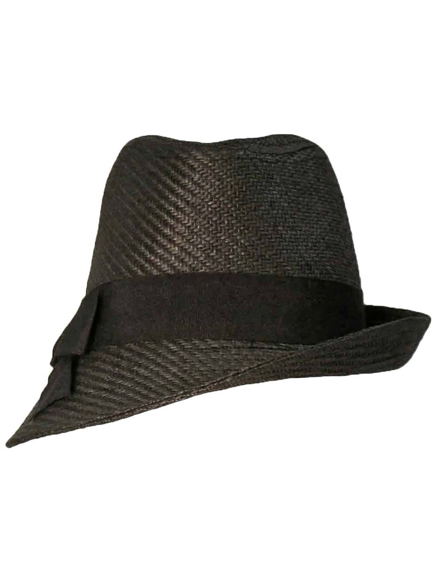 Black Fedora Hat With Slanted Brim