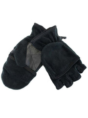 Black Fingerless Gloves With Convertible Fleece Pocket