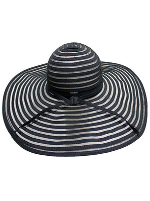 Black & Sheer Striped Wide Brim Floppy Hat