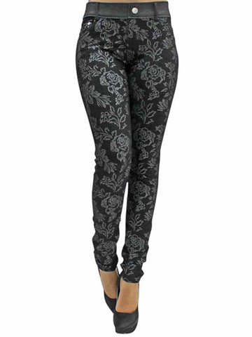 Floral Stretch Jeggings With Pockets
