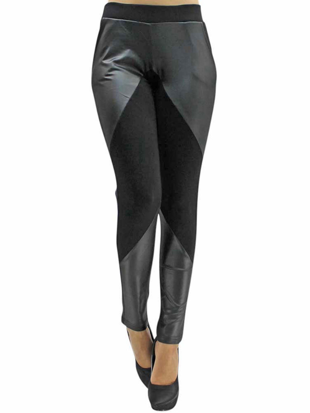 Black Leather And Knit Leggings For Women