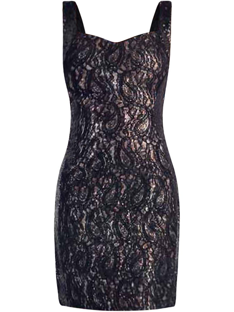 Black Lace & Gold Sequin Metallic Cocktail Dress