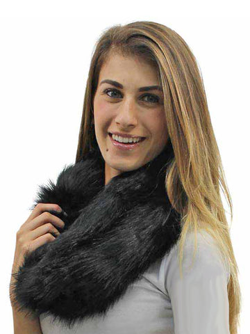 Plush Faux Fur Neck Warmer Infinity Scarf