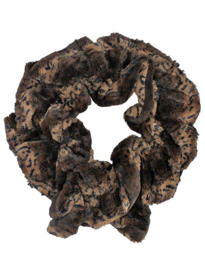 Brown Animal Print Long Scrunched Plush Scarf
