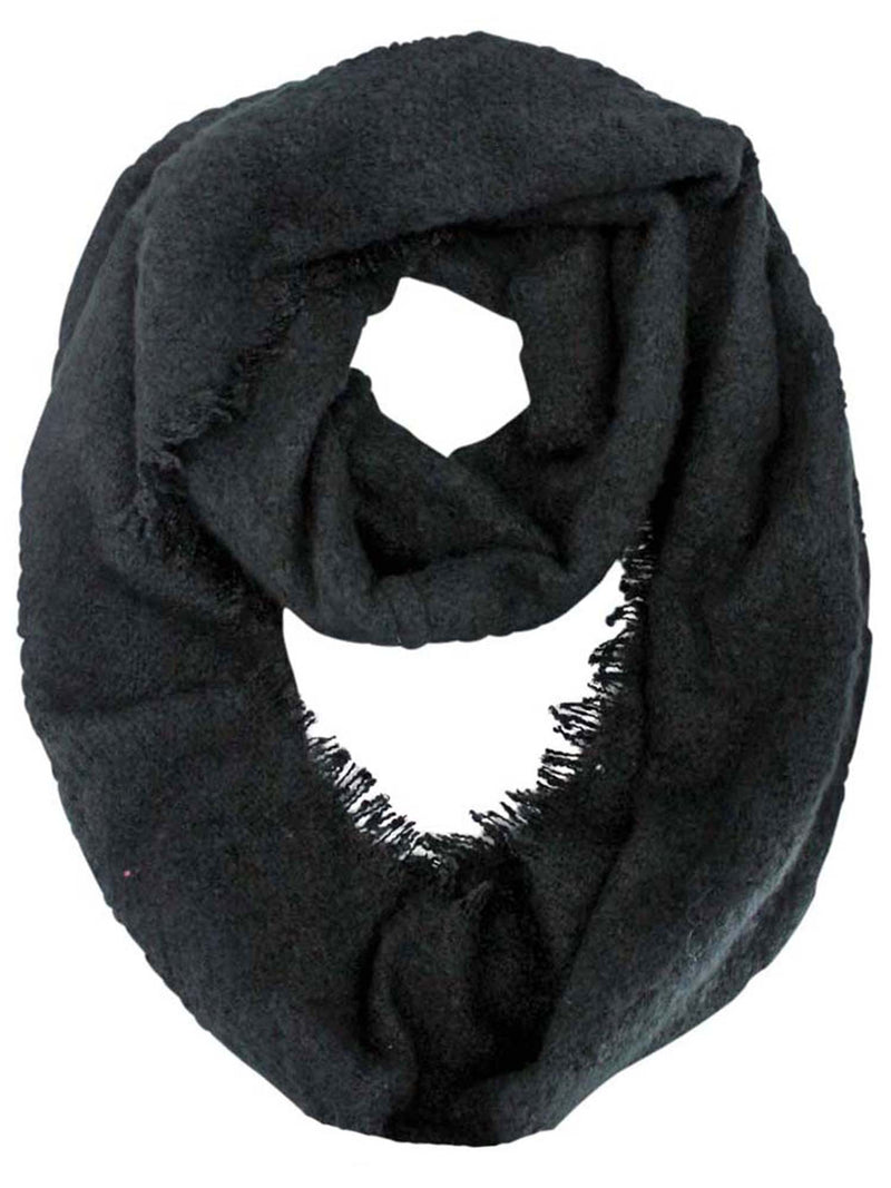 Unisex Winter Infinity Scarf With Frayed Edge