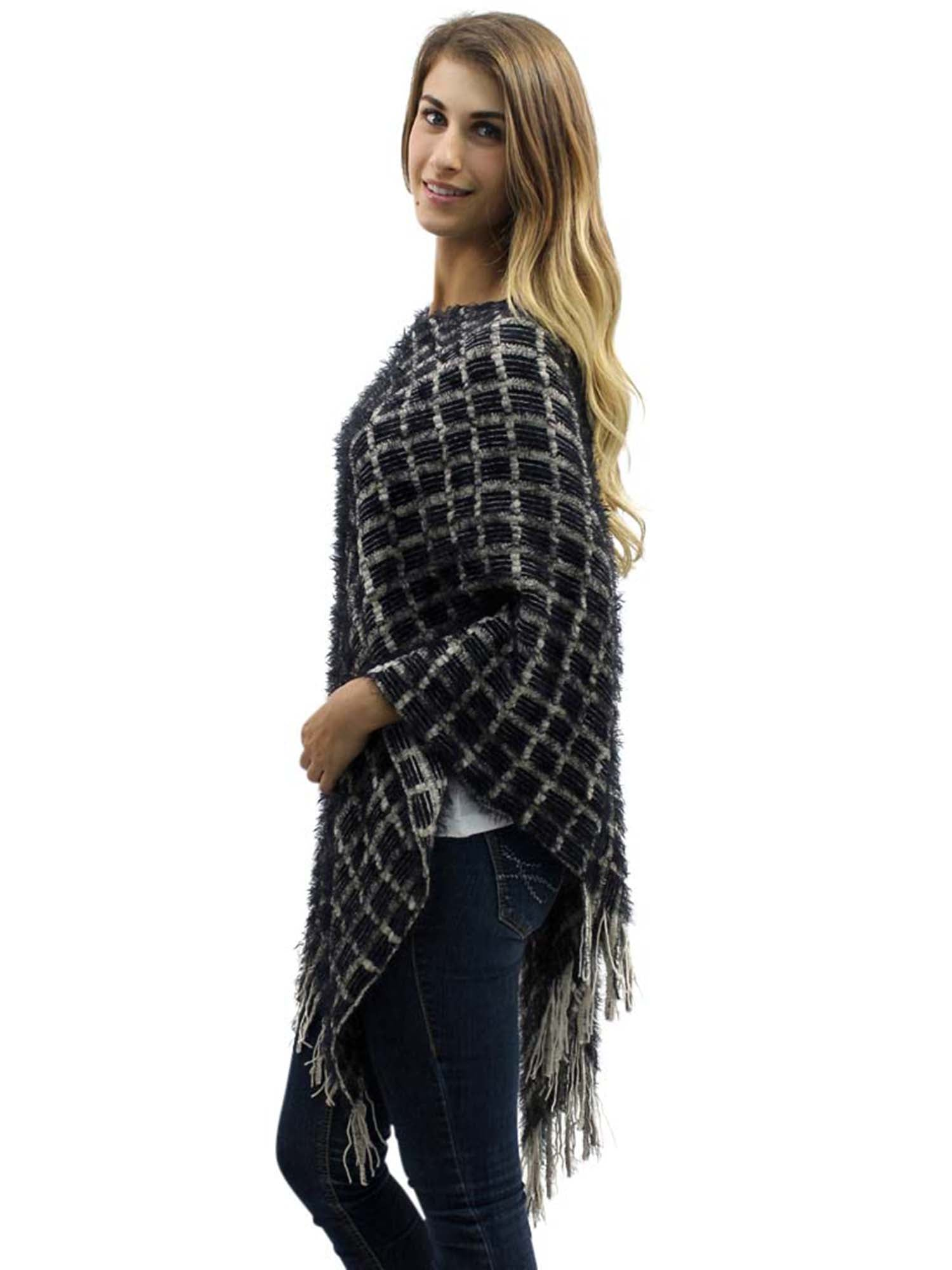 Two-Tone Fuzzy Knit Poncho With Fringe – LD