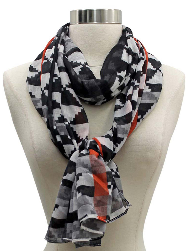 Gradient Geometric Checkered Scarf Shawl