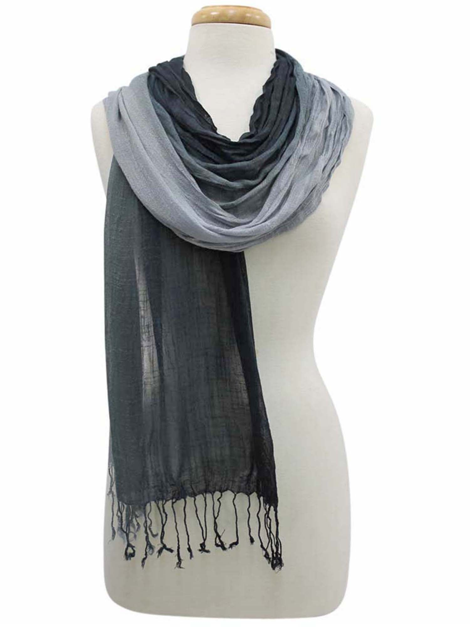 Black & Gray Pleated Long Scarf Wrap