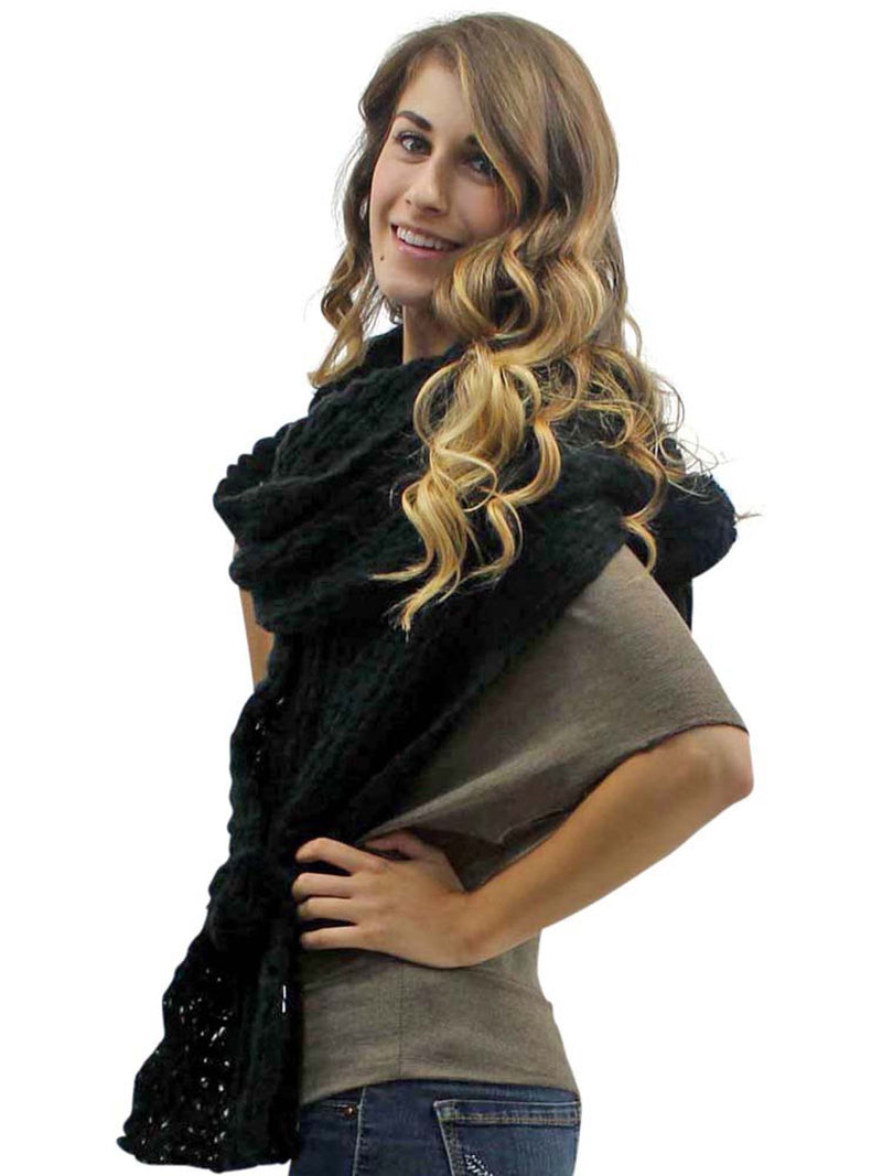 Knit Shawl Wrap With Pom-Pom Ties