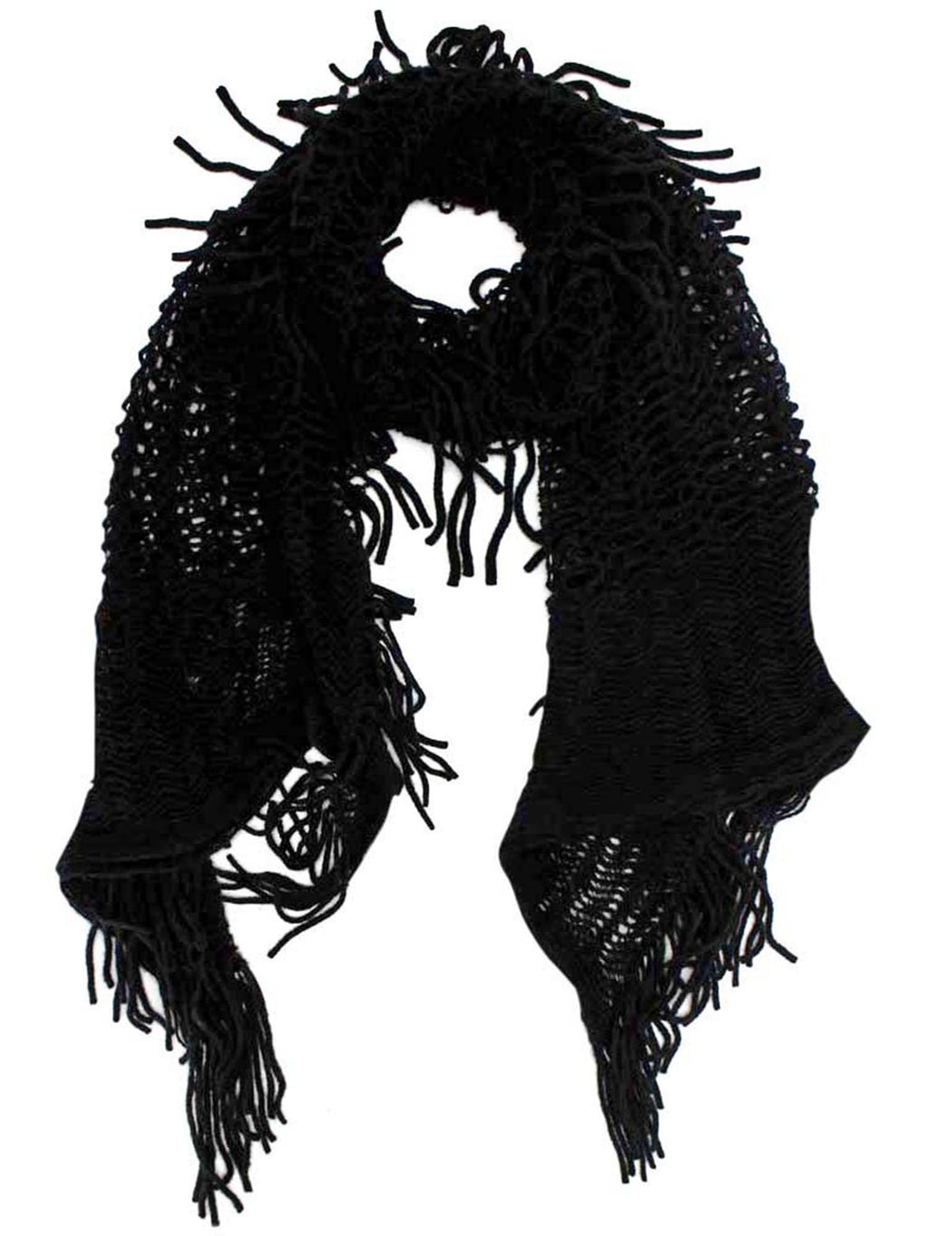 Wispy Knit Winter Scarf With Fringe