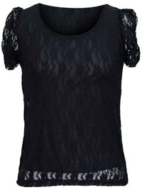Short Sleeve Lace Blouse With Scoop Neckline