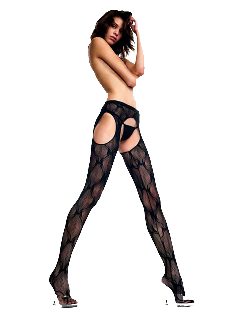 Black Lace Crotch Less Pantyhose Tights
